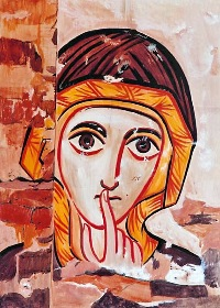 The icons of Bose - egg tempera on wood - copy from a painting in Coptic style