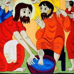 Tapestries of Bose, Feet washing, detail