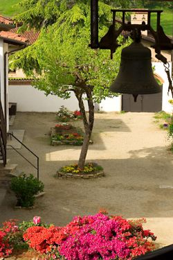 """the bell """"D. Bonnhoffer"""" in the community courtyard"""