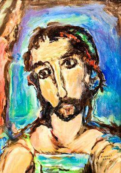 visage du Christ, huile sur toile - d'après G. Rouault