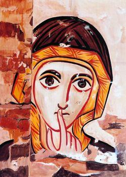 íconos de Bose – Mujer del silencio – inspirado en un fresco de la catedral de Faras, Egipto - estilo copta