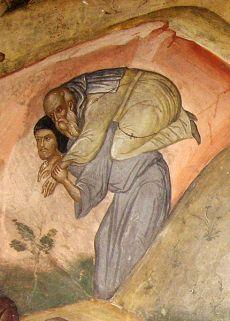 Meteore, GR (particolare affresco, Dormizione di Sant'Efrem il Siro)