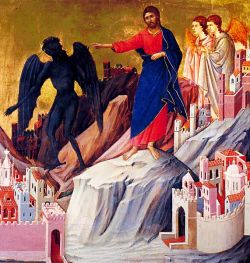 DUCCIO DI BONINSEGNA, Temptations of Jesus - 14th cent. - tempera on wood